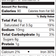 Peppermint Bark Nutrition Facts
